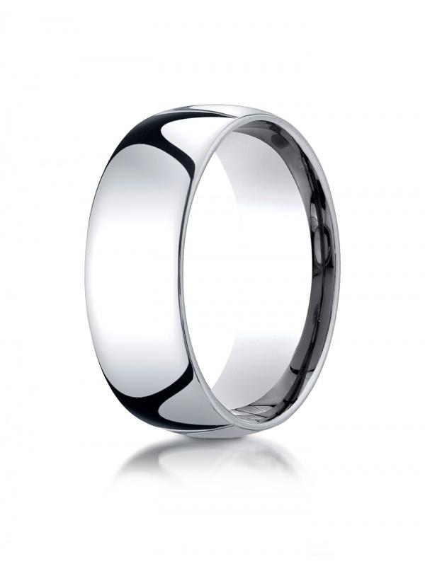 18K White Gold 8mm Slightly Domed Standard ComfortFit Ring Rings