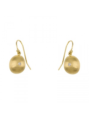 14KT Yellow Earrings W/ Puffed Drop