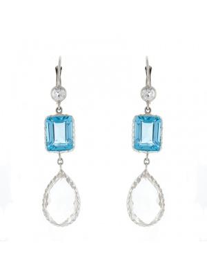 14KTW Earring Blue Topaz & Crystal