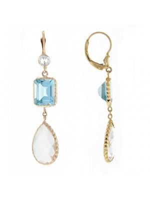 14KTY Earring Blue Topaz & Crystal