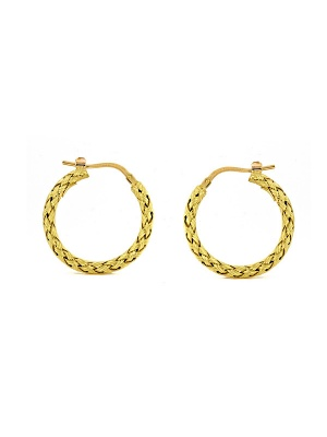 18KT Yellow Earring Braided