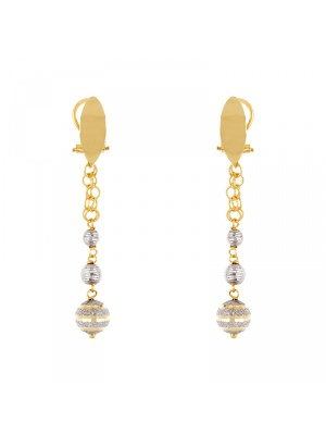 18KT Yellow and White Earrings