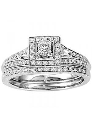 14K White Gold 1/2 ct.tw. Diamond Bridal Ring