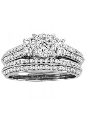 14K White Gold 1 Ct.tw. Diamond Bridal Ring