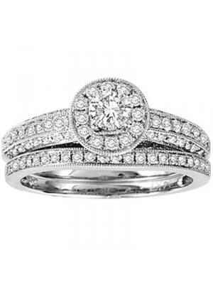 14K White Gold 1 ct.tw. Diamond Bridal Set Ring