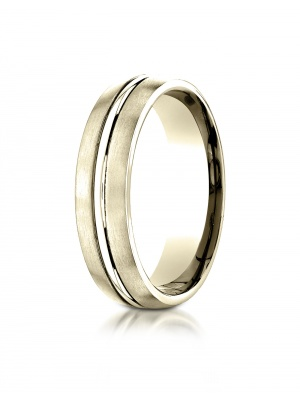 10k Yellow Gold 6mm Comfort-Fit Satin-Finished with High Polished Center Cut Carved Design Band