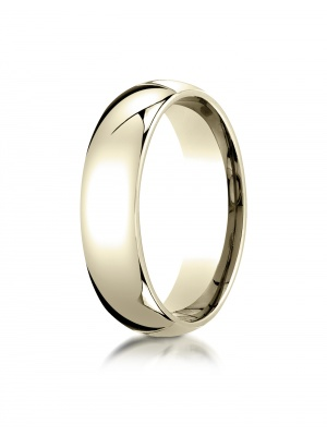 10K Yellow Gold 6mm Slightly Domed Standard Comfort-Fit Ring
