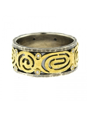 Silver Ring Textured with 14kt