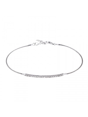 14KT White Cable Wire/Diamond Bar