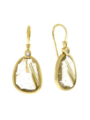14KT Yellow Earrings Rutie Quartz
