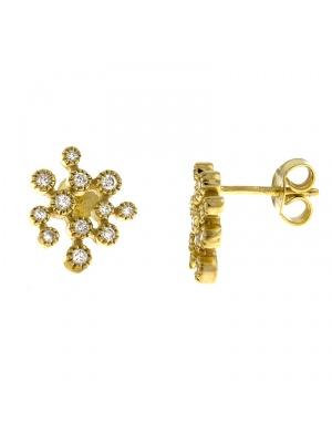 14KT Yellow Earrings Flowers