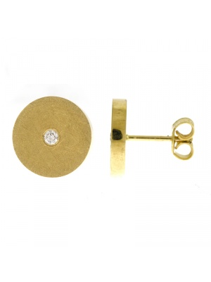 14KTY Earrings Textured Thick Round