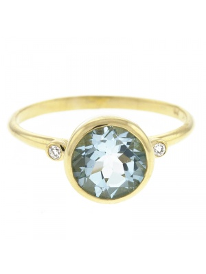 14KT Yellow Ring Blue Topaz